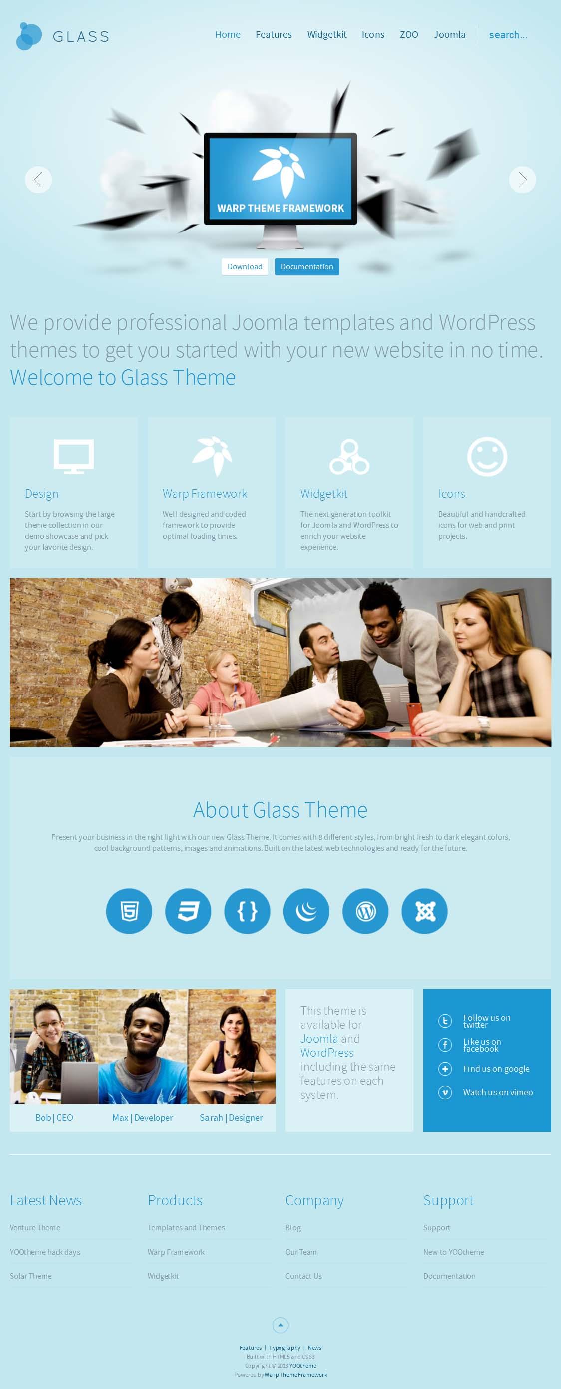 قالب جوملایی طراحی وب و موبایل Yoo Glass