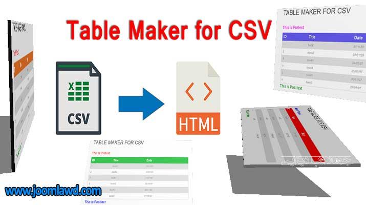 افزونه ایجاد جدول برای فایل CSV جوملا Table Maker for CSV