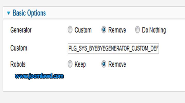 افزونه مخفی کردن سیستم مدیریت محتوا ByeByeGenerator