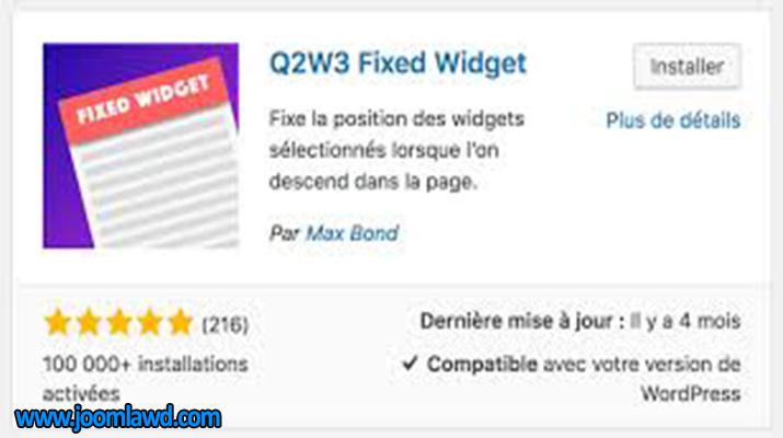 افزونه Q2W3 Fixed Widget