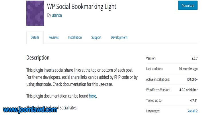 افزونه WP Social Bookmarking Light
